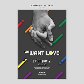 Plantilla de póster para el orgullo gay