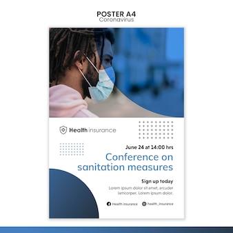 Plantilla de póster para la pandemia de coronavirus con máscara médica.