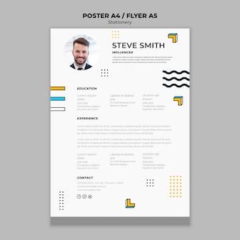 Plantilla de póster de papelería curriculum vitae