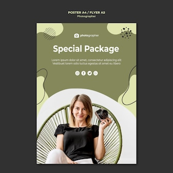 Plantilla de póster de paquete especial de fotógrafo