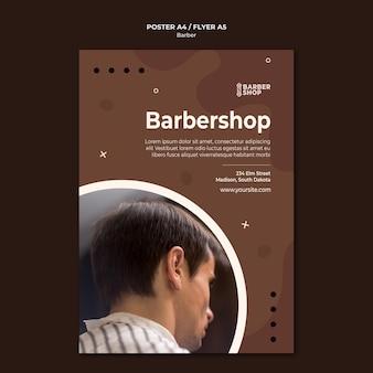 Plantilla de póster de peluquería y cliente