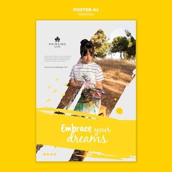 Plantilla de póster de pintura con foto