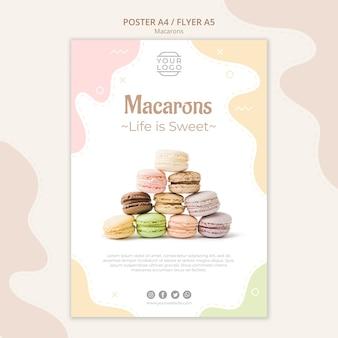 Plantilla de póster pirámide de macarons