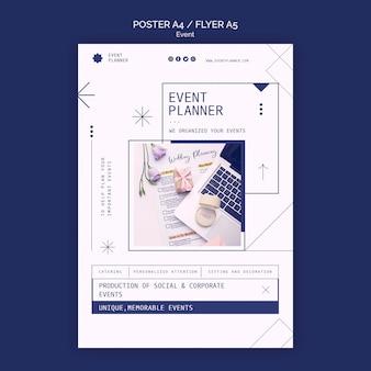 Plantilla de póster para la planificación de eventos sociales y corporativos.