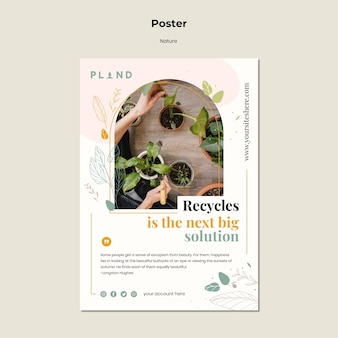 Plantilla de póster de plantas naturales