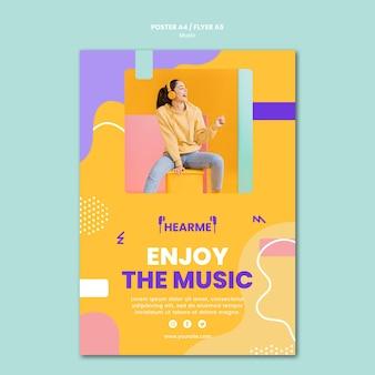 Plantilla de póster de plataforma de música