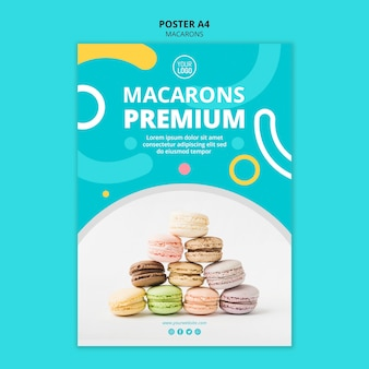 Plantilla de póster premium deliciosos macarons