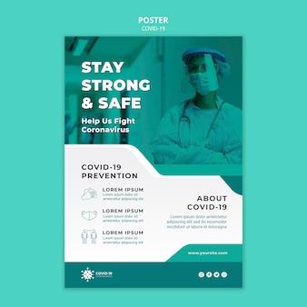 Plantilla de póster de prevención de covid19