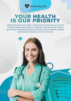 Plantilla de póster de prioridad médica