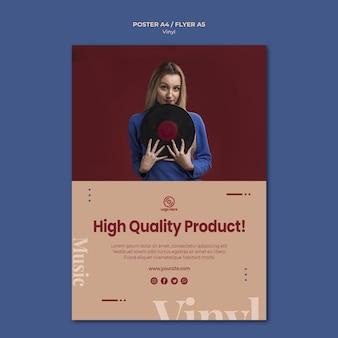 Plantilla de póster de producto de alta calidad de vinilo