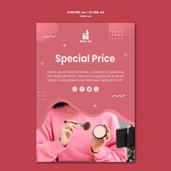Plantilla de póster de productos de maquillaje con foto
