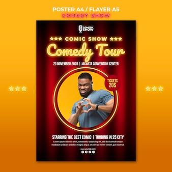 Plantilla de póster de programa de comedia