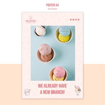 Plantilla de póster de promoción de helados
