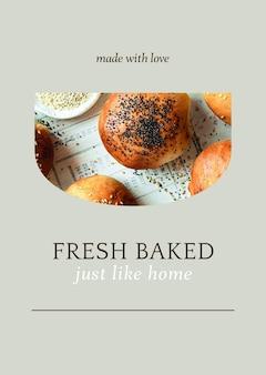 Plantilla de póster psd recién horneado para marketing de panadería y cafetería