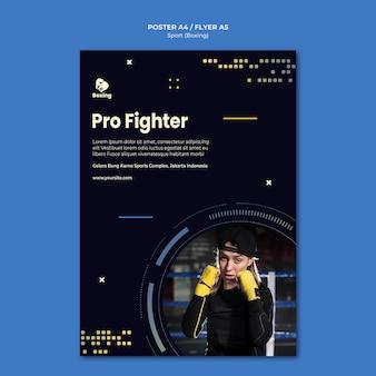 Plantilla de póster publicitario de boxeo