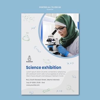 Plantilla de póster publicitario del club de ciencia