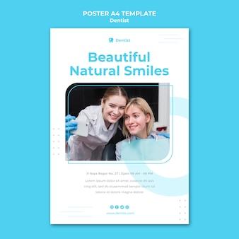 Plantilla de póster publicitario de dentista