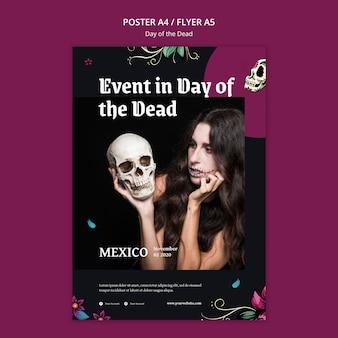 Plantilla de póster publicitario del día de los muertos