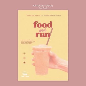 Plantilla de póster publicitario de food truck
