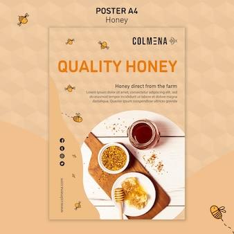 Plantilla de póster publicitario honey shop