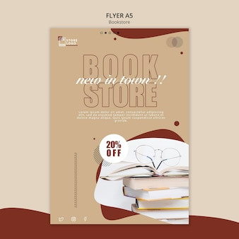 Plantilla de póster publicitario de librería