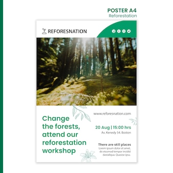 Plantilla de póster publicitario de reforestación