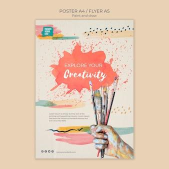 Plantilla de póster de ramo de pinceles