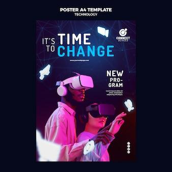 Plantilla de póster de realidad virtual futurista