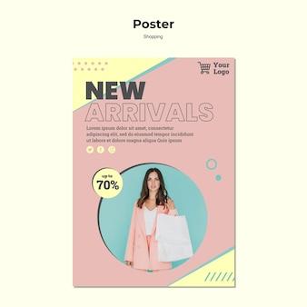 Plantilla de póster de recién llegados de compras