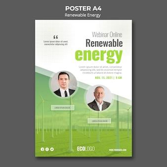 Plantilla de póster de recursos energéticos renovables