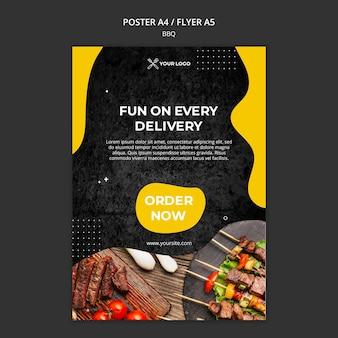 Plantilla de póster para restaurante de barbacoa