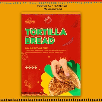 Plantilla de póster para restaurante de comida mexicana