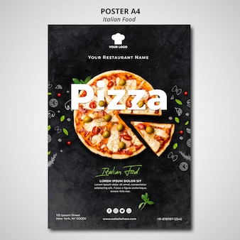 Plantilla de póster para restaurante de comida tradicional italiana