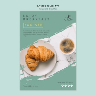 Plantilla de póster de restaurante de desayuno con foto