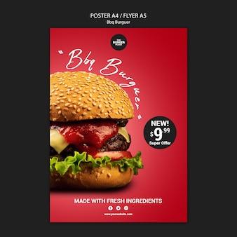 Plantilla de póster para restaurante con hamburguesa