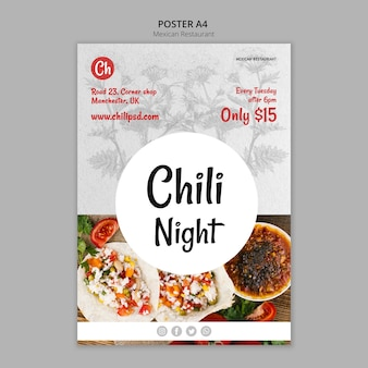 Plantilla de póster para restaurante mexicano