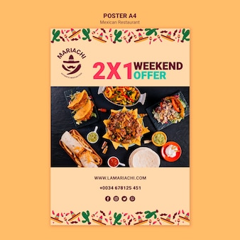 Plantilla de póster de restaurante de ofertas mexicanas