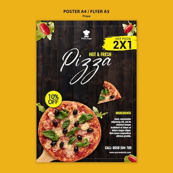 Plantilla de póster de restaurante de pizza