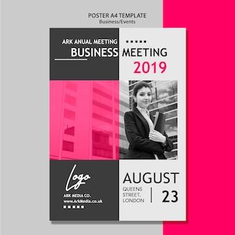 Plantilla de póster para reunión de negocios