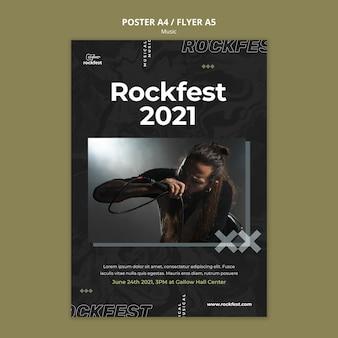 Plantilla de póster rockfest 2021