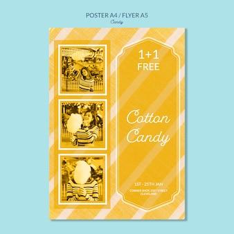 Plantilla de póster de sabores de algodón de azúcar
