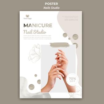 Plantilla de póster para salón de uñas