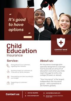 Plantilla de póster de seguro educativo psd con texto editable