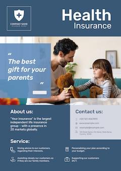 Plantilla de póster de seguro médico psd con texto editable