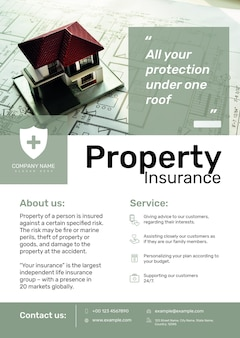 Plantilla de póster de seguro de propiedad psd con texto editable