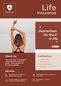 Plantilla de póster de seguro de vida psd con texto editable