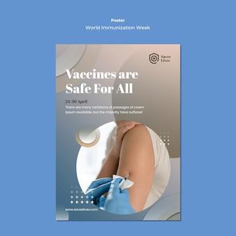 Plantilla de póster de la semana mundial de la inmunización