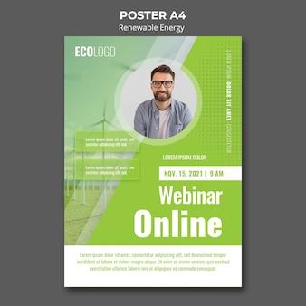 Plantilla de póster de seminario web de energía renovable