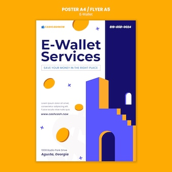 Plantilla de póster de servicios de billetera electrónica