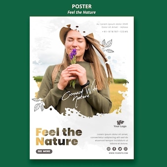 Plantilla de póster siente la naturaleza